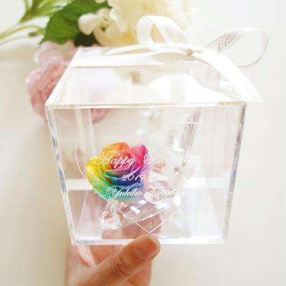 """《名入れギフト☆メッセージ刻印》message ROSE """"Ma belle"""" レインボーローズで彩ったガラスの靴のフラワーボックス"""