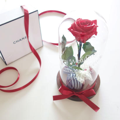 "NATURAL ""Rose rouge  "" 美女と野獣♡名入れギフト♡バラを閉じ込めたガラスドーム"