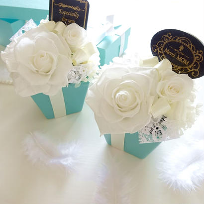 "Design Flower   ""Tiffany FLOWER""  ☆選べるメッセージプレート☆  ティファニーブルーの上品アレンジ"