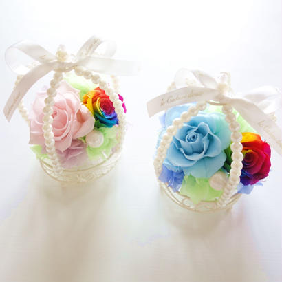 "RAINBOW ROSE ""pearl crown"" レインボーローズのパールクラウンアレンジ"