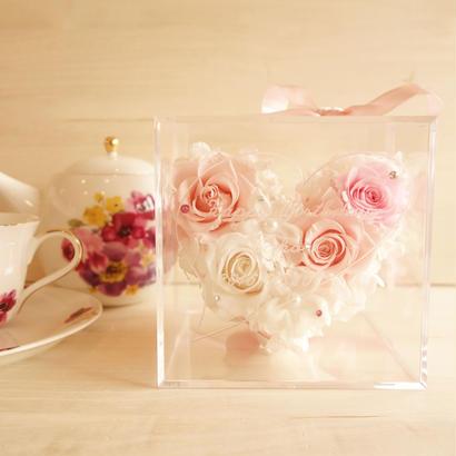 """《受注制作》message ROSE """"pink heart"""" メッセージ・名入れ ふんわりピンクハートのフラワーボックス"""