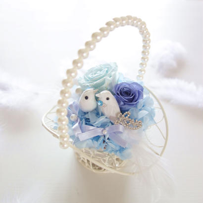 "DT's Wedding  ""tous les deux""(BLUE)♡結婚祝い♡幸せを願う小鳥のリングピロー"