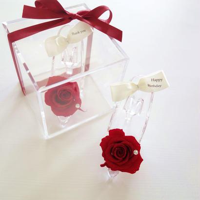 "message ROSE  ""TALe"" (RED) ♡メッセージ入り♡ガラスの靴のフラワーキューブ"