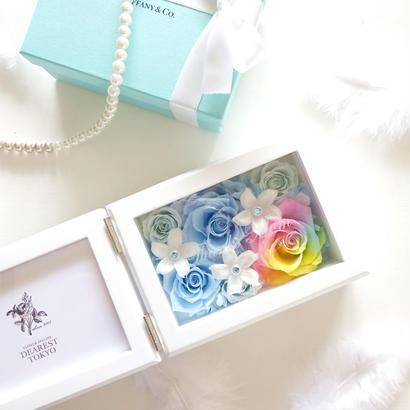 """《名入れギフト☆メッセージ刻印》MEMORIES  """"Happy Rainbow""""    レインボーローズのフォトフレーム"""