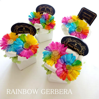 "Rainbow Flower ""Rainbow days"" ☆選べるメッセージプレート付☆心おどる虹色、レインボーガーベラのフラワーアレンジ"