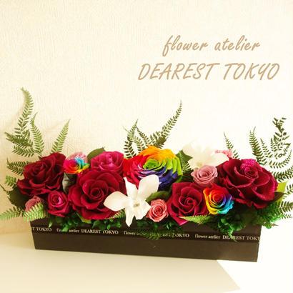 "LUXURY BOX  ""ESPOIR"" 美しいパープルのお祝い花(ダイヤモンドローズ、レインボーローズ入り)"