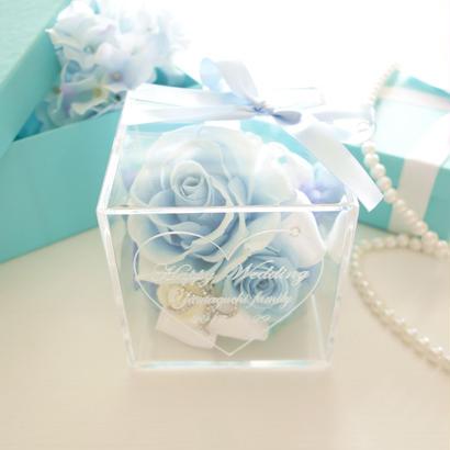 """《名入れギフト☆メッセージ刻印》message ROSE   """"TIFFANY  BLUE"""" 上品なティファニーカラーのフラワーボックス"""