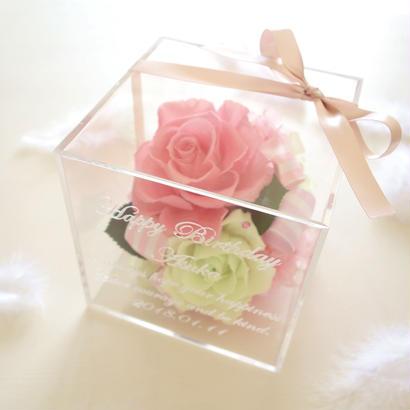 """《受注制作》message ROSE """"BASE""""(PINK)☆名入れギフト☆ ブルー&イエロー爽やかカラーのフラワーボックス"""