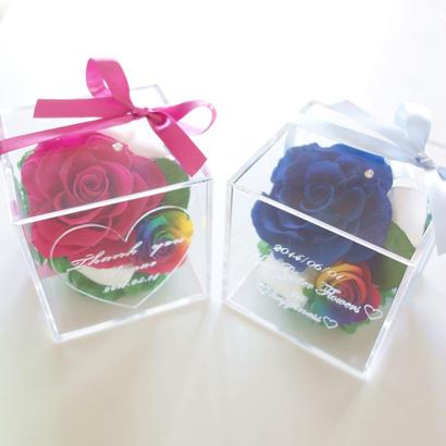 "message ROSE   ""arco iris "" ♡名入れギフト♡レインボーローズの宝石箱♡2color"