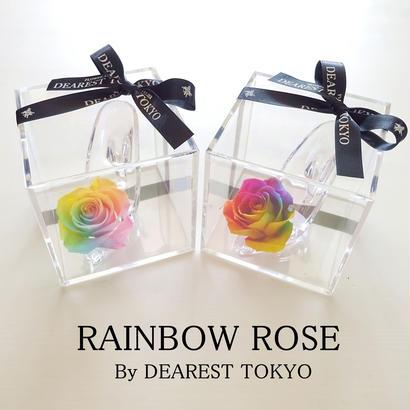 "RAINBOW FLOWER ""Parfum"" ☆2Color☆小さなシンデレラのガラスの靴 【レインボーローズ】【結婚祝い】【誕生日】【プロポーズ】【記念日】"