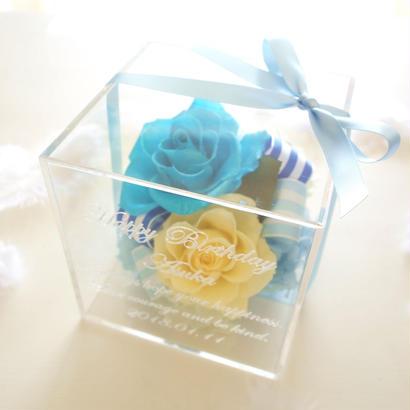 """《受注制作》message ROSE """"BASE""""(BLUE)☆名入れギフト☆ ブルー&イエロー爽やかカラーのフラワーボックス"""
