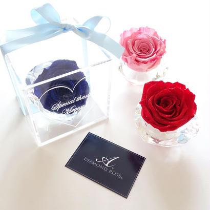 """《名入れギフト☆メッセージ刻印》message ROSE """"le bijou rose""""【選べる3色】最高級ダイヤモンドローズのフラワーボックス"""