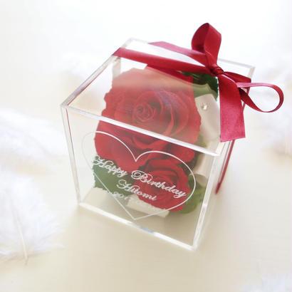"""《名入れギフト☆メッセージ刻印》message ROSE    """"Rosery"""" ゴージャスな赤いバラのフラワーボックス"""