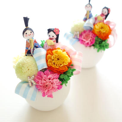 "Design Flower ""OHINASAMA"" お雛様のプリザーブドフラワーアレンジ【雛祭り】【ひな人形】【雛人形】【出産祝い】"