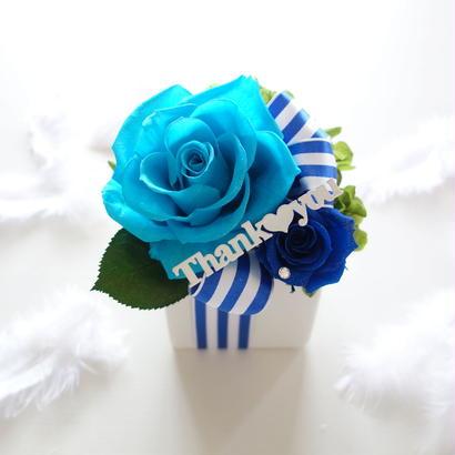 "NATURAL ""BLUE PARTY"" ☆メッセージ入り☆スイーツのようなフラワーアレンジ"