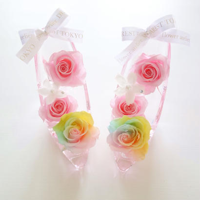 "Cinderella ""Kiss"" ♡シンデレラのガラスの靴♡パステルレインボーローズアレンジ"