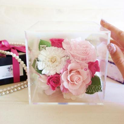 """《受注制作》message ROSE  """"ma chérie"""" メッセージ・名前入り ふんわりピンク&ホワイトのフラワーボックス"""