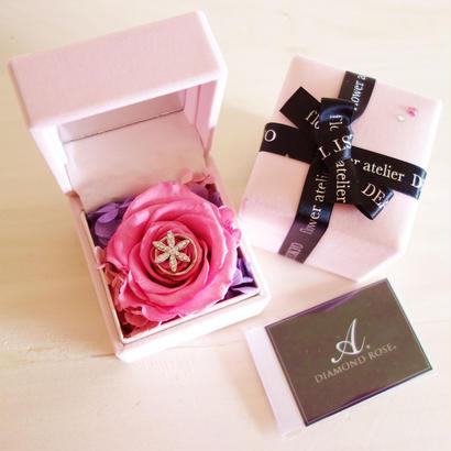 """DIAMOND ROSE  """"paris pink""""  ピンクローズ×ダイヤモンドのアクセサリーケース"""