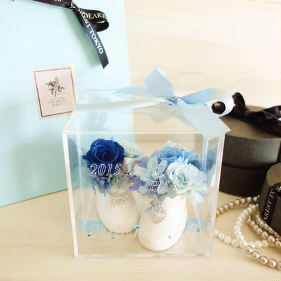 """《受注制作》 LUXURY BOX """"Birthday"""" メッセージ・名前入り 出産祝いのフラワーボックス"""
