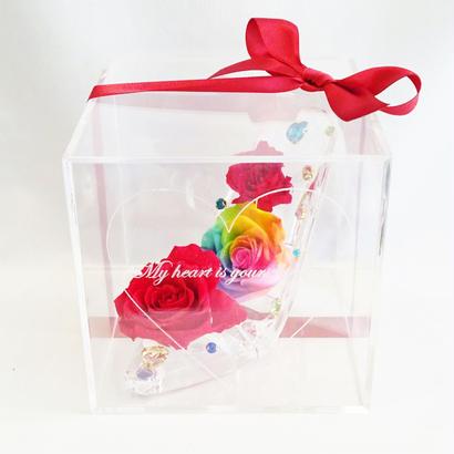 """《名入れギフト☆メッセージ刻印》message ROSE """"Dream"""" ☆大きいサイズ☆レインボーローズが彩るガラスの靴"""