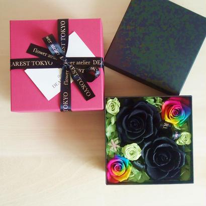 """LUXURY BOX  """"Arc se cachait"""" (BLACK)   虹を隠したフラワーボックス"""