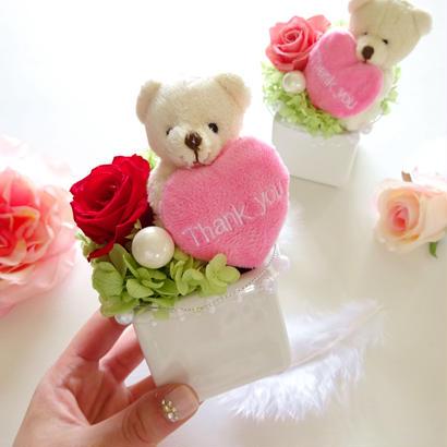"""Design Flower """"Thank you""""  《ありがとう》を伝える♡くまさんアレンジ♡【母の日】【プチギフト】"""