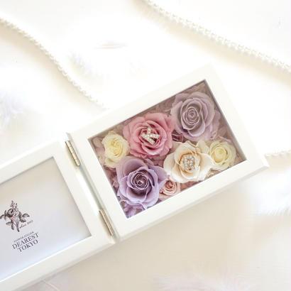 "MEMORIES ""flower wedding"" 新郎新婦(カップル)のイニシャル入りフォトフレーム"