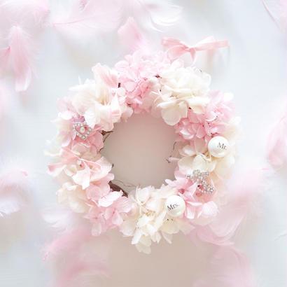 "DT's Wedding ""AMARRAR""(PINK)小さなリース型リングピロー"