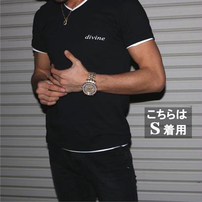 Tシャツ divine Vネック★★BLACK★★
