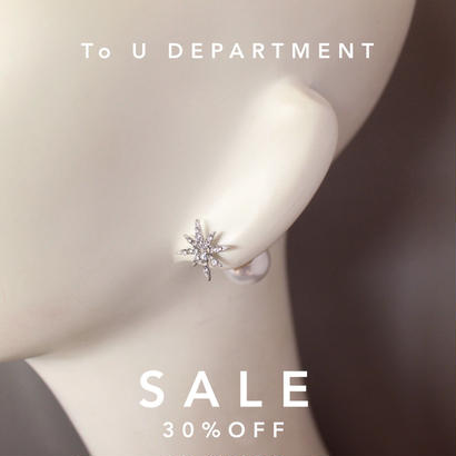 【To U DEPARTMENT】 BACK PEARL STAR  PIERCE  | GOLD & SILVER