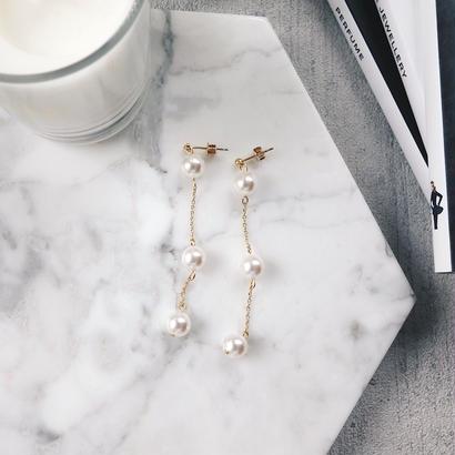 three pearl pierce,earring