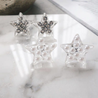 clear star pierce,earring(pearl)