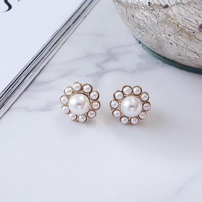 petit pearl flower pierce,earring