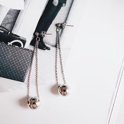 metal ball double chain pierce,earring