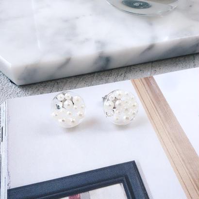 clear plate pearl stone pierce,earring