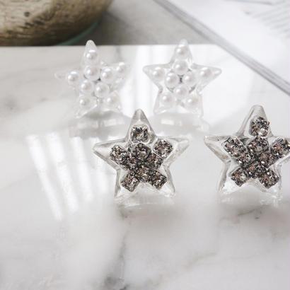 clear star pierce,earring(stone)