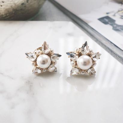 crystalpearl star pierce,earring