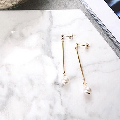 bar pearl pierce,earring