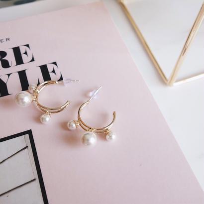 three pearl hoop pierce