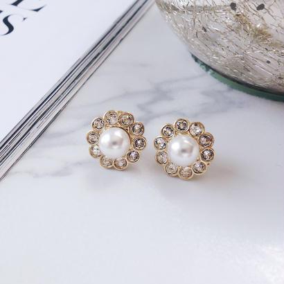 petit crystal flower pierce,earring