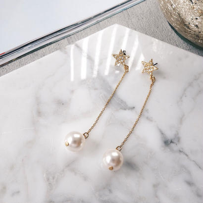 pave star pearl pierce,earring