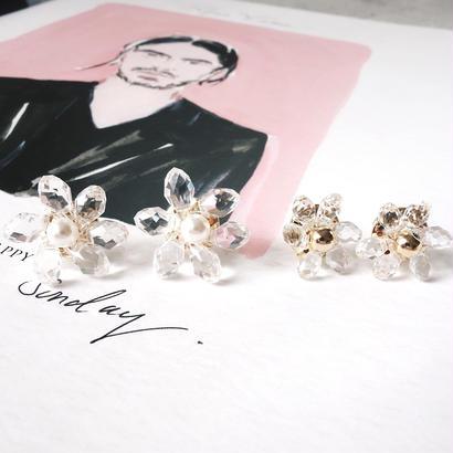 crystal flower pierce,earring