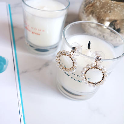 pearl circle pierce,earring