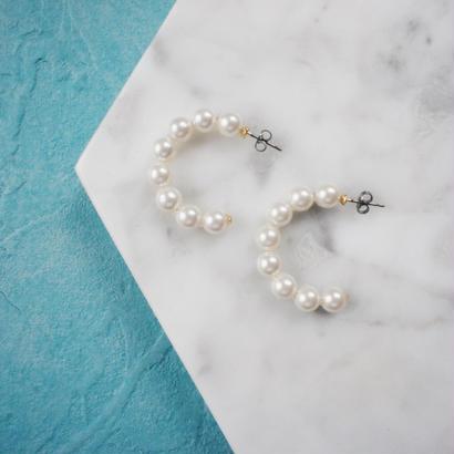 pearl hoop pierce,earring