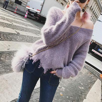 Purple Vネックニットセーター