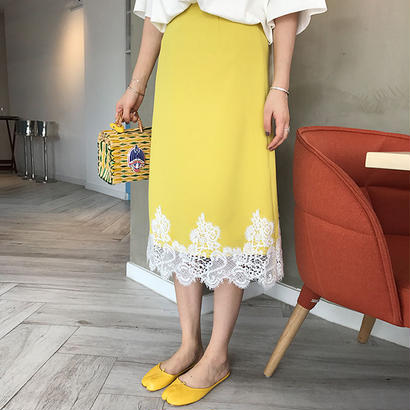 予約販売10日  Lace yellow skirt