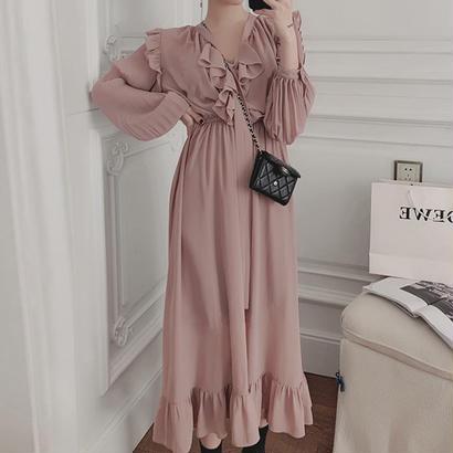 Long Pink Black Dress