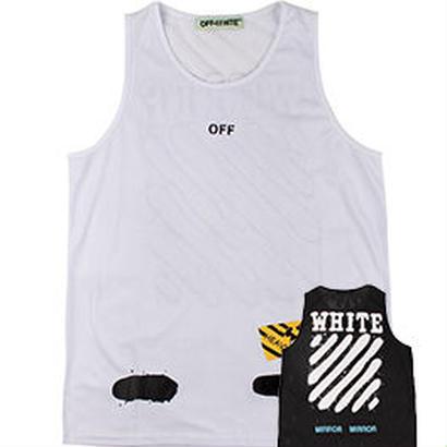 新品 数量限定  【オフホワイト OFF-WHITE】 オシャレ ノースリーブ タンクトップ トレーニング シャツ メンズファッション [OW-445]