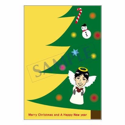 メッセージカード クリスマス  08-0366(似顔絵ver) 1セット(30枚)
