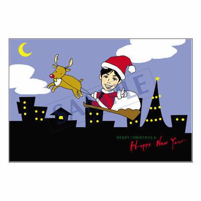 メッセージカード クリスマス 07-0240(似顔絵ver) 1セット(30枚)